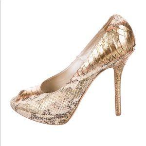 Christian Dior snakeskin peep-toe pumps 38.5